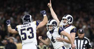 Greg Zuerlein celebrates after kicking the game-winning field goal against the New Orleans Saints during overtime in the NFC Championship game at Mercedes-Benz Superdome. Mandatory Credit: Matthew Emmons-USA TODAY Sports