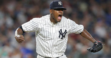 Yankees pitcher Luis Severino reacts after the top of the seventh inning against the Boston Red Sox on Sept. 19, 2018, at Yankee Stadium.
