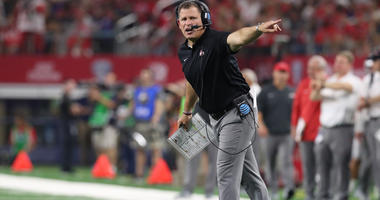 Sep 15, 2018; Arlington, TX, USA; Ohio State Buckeyes defensive coordinator Greg Schiano on the field prior to the game against the Texas Christian Horned Frogs at AT&T Stadium. Mandatory Credit: Matthew Emmons-USA TODAY Sports