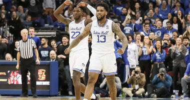 Mar 6, 2019; Newark, NJ, USA; Seton Hall Pirates guard Myles Powell and guard Myles Cale celebrate after a basket during the second half against the Marquette Golden Eagles at Prudential Center. Mandatory Credit: Vincent Carchietta-USA TODAY Sports