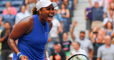 Taylor Townsend reacts after beating Simona Halep in the second round of the U.S. Open on Aug. 30, 2019.
