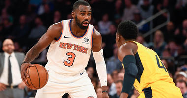 Oct 31, 2018; New York, NY, USA; New York Knicks guard Tim Hardaway Jr. (3) controls the ball against the Indiana Pacers in the fourth quarter at Madison Square Garden. Mandatory Credit: Catalina Fragoso-USA TODAY Sports