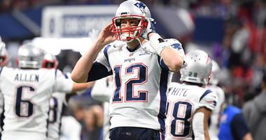 Feb 3, 2019; Atlanta, GA, USA; New England Patriots quarterback Tom Brady (12) before Super Bowl LIII against the Los Angeles Rams at Mercedes-Benz Stadium. Mandatory Credit: Christopher Hanewinckel-USA TODAY Sports