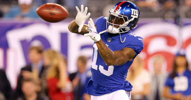 Odell Beckham Jr. warms up before a game against the Detroit Lions at MetLife Stadium.