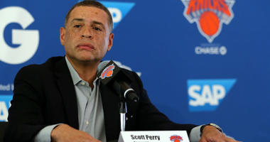 New York Knicks general manager Scott Perry speaks to the media on media day at MSG Training Center.