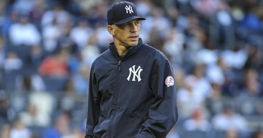 Former Yankees manager Joe Girardi after a pitching change in the seventh inning against the Toronto Blue Jays at Yankee Stadium in 2017.