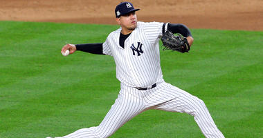 Dellin Betances pitches during the eighth inning against the Houston Astros during game three of the 2017 ALCS playoff baseball series at Yankee Stadium.
