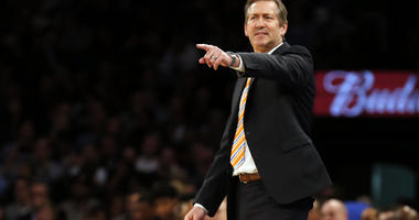 Jeff Hornacek directs his team against the Cleveland Cavaliers during the second half at Madison Square Garden.