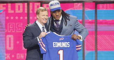 Tremaine Edmunds with Roger Goodell after being selected as the number sixteen overall pick to the Buffalo Bills in the first round of the 2018 NFL Draft at AT&T Stadium.