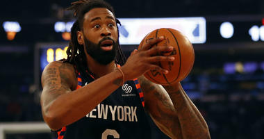 DeAndre Jordan looks to pass against the Utah Jazz during the first half at Madison Square Garden.