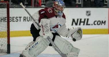 Semyon Varlamov warms up prior to the game against the San Jose Sharks in game five of the second round of the 2019 Stanley Cup Playoffs at SAP Center at San Jose.