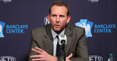 Sean Marks speaks to the media during a press conference before a game against the New York Knicks at Barclays Center.