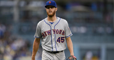 Mets starting pitcher Zack Wheeler (45) walks off the field during the sixth inning against the Dodgers on Sept. 5, 2018, at Dodger Stadium.