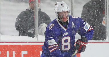 The United States' Adam Fox competes against Canada during the IIHF World Junior Championship on Dec. 29, 2017, at New Era Field in Buffalo.