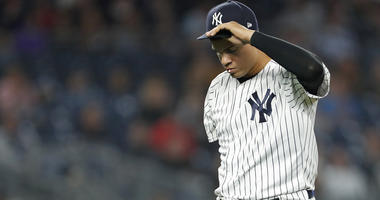 The Yankees' Dellin Betances reacts walking to the dugout against the Boston Red Sox during the eighth inning on May 10, 2018, at Yankee Stadium.