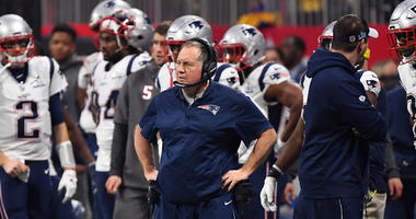 Patriots coach Bill Belichick on the sidelines during Super Bowl LIII on Feb. 3, 2019, at Mercedes-Benz Stadium in Atlanta.