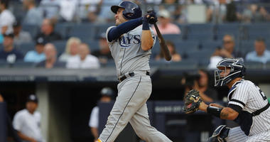 Tampa Bay Rays catcher Travis d'Arnaud hits home run against the Yankees in the first inning at Yankee Stadium on July 15, 2019.