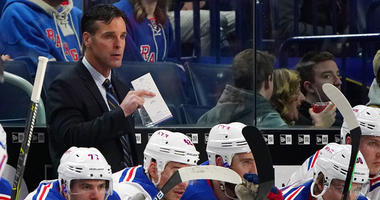 Rangers coach David Quinn stands behind the bench during a game against the Sabres on Feb. 15, 2019, at KeyBank Center in Buffalo.