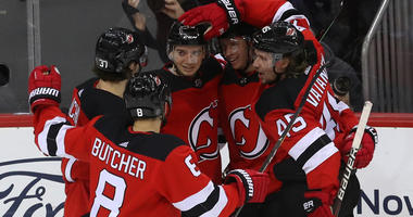 Devils left wing Brett Seney (43) celebrates his goal during the third period against the Chicago Blackhawks on Jan. 14, 2019, at Prudential Center.