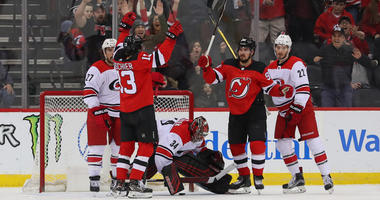 Devils left wing Marcus Johansson (second from right) celebrates after scoring a goal during the first period against the Carolina Hurricanes on Feb. 10, 2019, at the Prudential Center.
