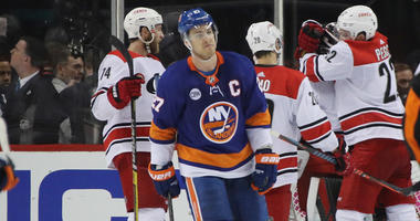 The Islanders' Anders Lee leaves the ice following a 2-1 loss to the Carolina Hurricanes in Game 2 of their second-round playoff series on April 28, 2019, at the Barclays Center.