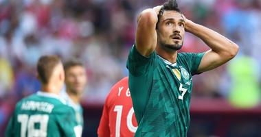 Germany defender Mats Hummels reacts against South Korea in Group F play during the FIFA World Cup on June 27, 2018, at Kazan Stadium in Kazan, Russia