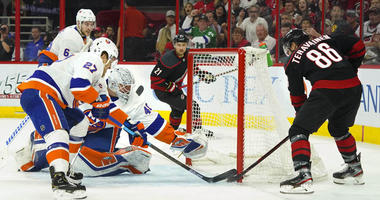 Carolina's Teuvo Teravainen scores a goal past Islanders goaltender Robin Lehner during the first period in Game 3 of the second round of the Stanley Cup Playoffs on May 1, 2019, at PNC Arena in Raleigh, North Carolina.