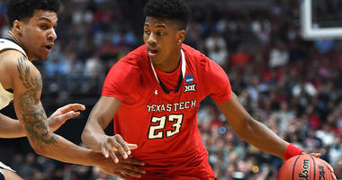 Texas Tech guard Jarrett Culver dribbles during the championship game of the West regional of the 2019 NCAA tournament against Gonzaga Bulldogs on April 5, 2019, in Anaheim, California.