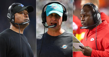 From left, Jim Caldwell, Adam Gase and Eric Bieniemy