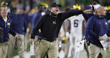 Michigan's Jim Harbaugh coaches against Notre Dame on Sept. 1, 2018, at Notre Dame Stadium in South Bend, Indiana.