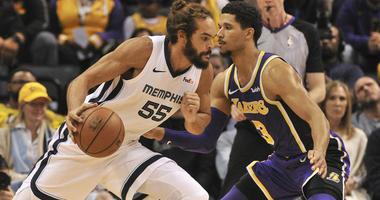 Grizzlies center Joakim Noah dribbles the ball as Lakers guard Josh Hart defends on Dec. 8, 2018, at the FedExForum in Memphis.