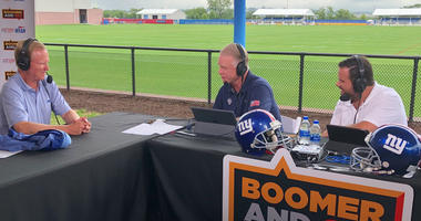 John Mara chats with WFAN's Boomer Esiason and Gregg Giannotti on Aug. 1 at Giants training camp.