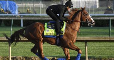 An exercise rider works out Justify on May 1, 2018, at Churchill Downs in Louisville, Kentucky.