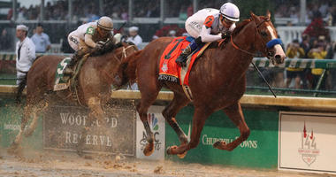 Mike Smith aboard Justify (7) beats Javier Castellano aboard Audible (5) to the finish line to win the 144th running of the Kentucky Derby on May 5, 2018, at Churchill Downs in Louisville, Kentucky.