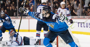 Kaapo Kakko of Finland celebrates after scoring the game-winning goal against the United States in the gold medal game of the IIHF World Junior Championship on Jan. 5, 2019, at Rogers Arena in Vancouver, British Columbia.