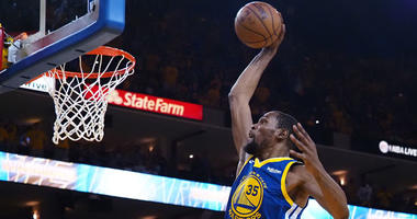 Warriors forward Kevin Durant dunks the ball against the Los Angeles Clippers during Game 5 of their first-round playoff series on April 24, 2019, at Oracle Arena in Oakland, California.