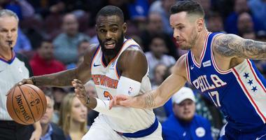Knicks guard Tim Hardaway Jr. (3) drives against Philadelphia 76ers guard JJ Redick (17) on Nov. 30, 2018, at Wells Fargo Center in Philadelphia.