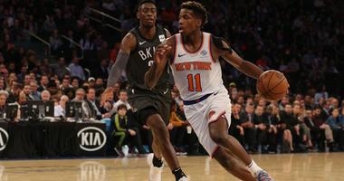 Knicks guard Frank Ntilikina drives against Brooklyn Nets guard Caris LeVert on Oct. 29, 2018, at Madison Square Garden.