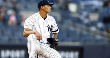 Yankees pitcher Jonathan Loaisiga reacts against the Seattle Mariners during the first inning on May 8, 2019, at Yankee Stadium.
