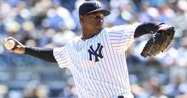 Yankees pitcher Luis Severino pitches against the Toronto Blue Jays on April 22, 2018, at Yankee Stadium.