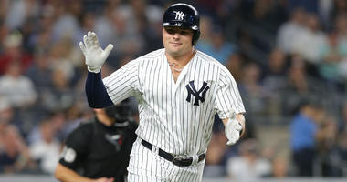 Yankees first baseman Luke Voit reacts after hitting a two-run home run against the Boston Red Sox during the sixth inning on Sept. 19, 2018, at Yankee Stadium.