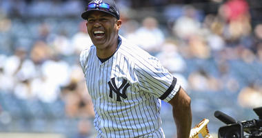 Former New York Yankees pitcher Mariano Rivera (42) at the 2019 Yankees Old Timers' Day at Yankee Stadium.