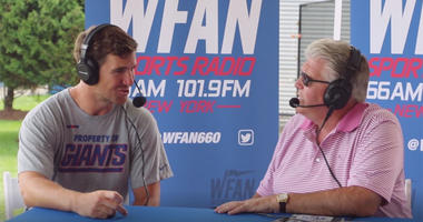 Mike Francesa interviews Eli Manning at Giants training camp on July 27, 2018.