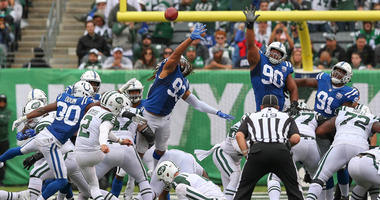 Jets kicker Jason Myers kicks a field goal during the second half against the Indianapolis Colts on Oct. 14, 2018, at MetLife Stadium.