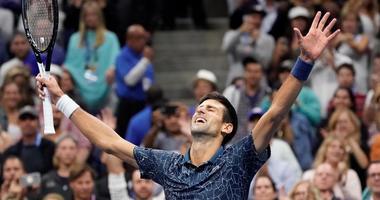 Novak Djokovic celebrates match point against Juan Martin del Potro in the US Open men's final on Sept. 9, 2018, at the USTA Billie Jean King National Tennis Center.