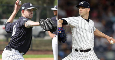 From left, Yankees pitchers James Paxton and J.A. Happ