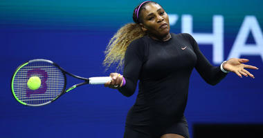 Serena Williams returns a shot during her semifinal match against Elina Svitolina on Sept. 5, 2019, at the U.S. Open.