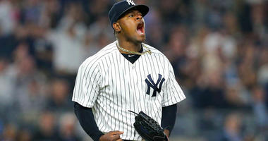 Yankees starting pitcher Luis Severino reacts after the top of the seventh inning against the Houston Astros on May 30, 2018, at Yankee Stadium.
