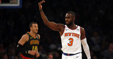 Knicks guard Tim Hardaway Jr. reacts against the Atlanta Hawks on Oct. 17, 2018,  at Madison Square Garden.