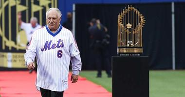Wally Backman is introduced to the crowd during a pregame ceremony honoring the Mets'  1986 World Series championship team on May 28, 2016, at Citi Field.